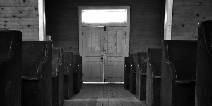 Church pews and door