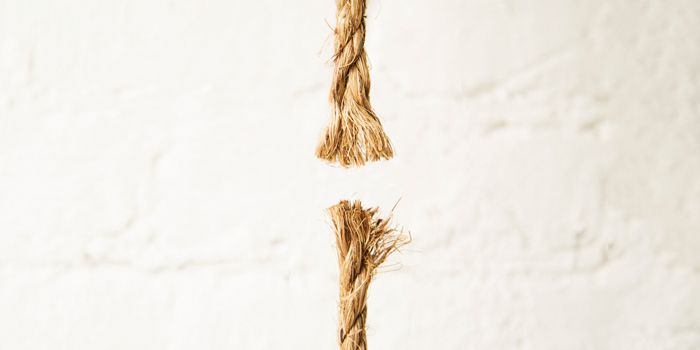 Broken rope with frayed edges