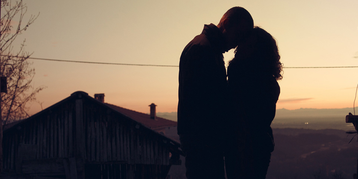 Silhouette of couple outside