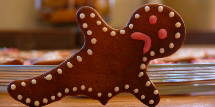 Gingerbread man with a sad face