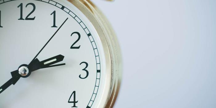 Clock on white background