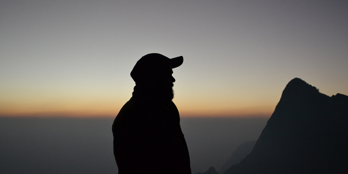 Silhouette of man alone