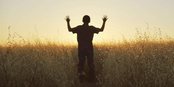 Man standing in a grassy field with his hands up in freedom
