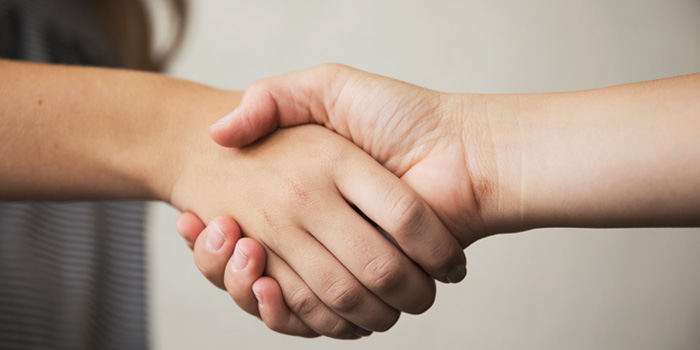 Close up on two people shaking hands